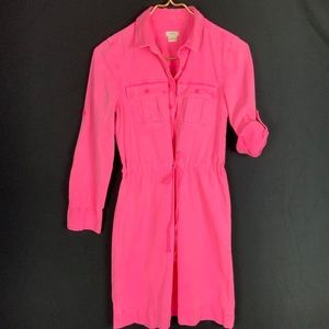 J. Crew Hot Pink Neon Drawstring Shirt Dress 00